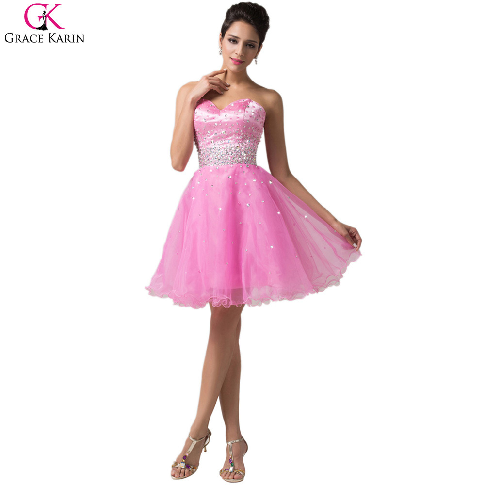 cd957455beb Get Quotations · Sweetheart Grace Karin Strapless Organza Satin Formatura  Short Cocktail Dresses For Special Occasion Formal Dress Party