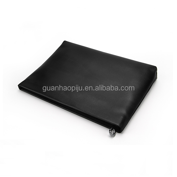 Soft Black Zip Top Genuine Leather Clutch Bag For Young Men
