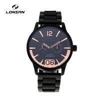 LS-M3615 Custom Logo special design black Alloy Case strap stainless steel crown Water Resistant japan quartz movement watch