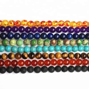 8mm Natural Loose Gemstone Bead , 7 Chakra Healing Crystal Stone Bead Set