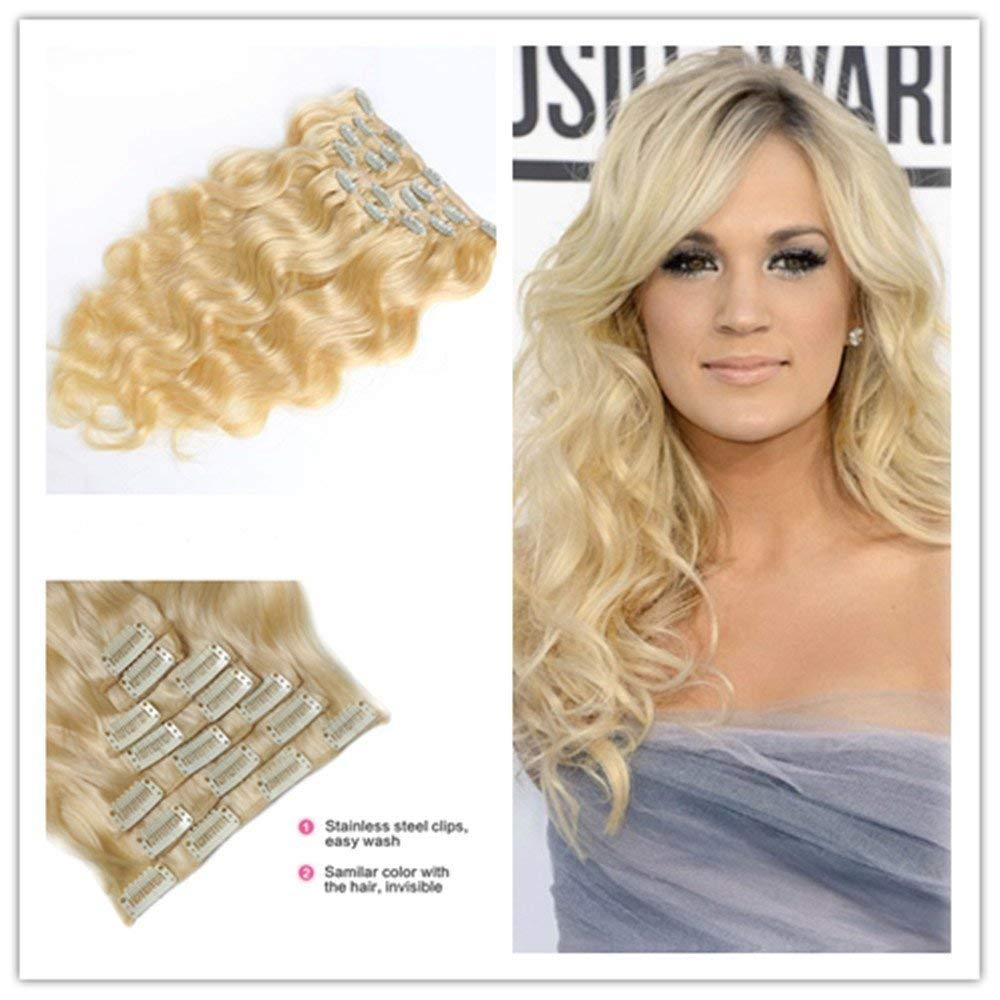 Clip in Hair Synthetic Hair Extensions Curly Wavy Natural Blonde Hair 8 Pcs for Women