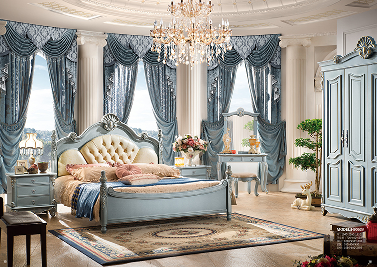 Most popular antique Luxury King Size Wood Bedroom Furniture set/french  style bed - Most Popular Antique Luxury King Size Wood Bedroom Furniture Set