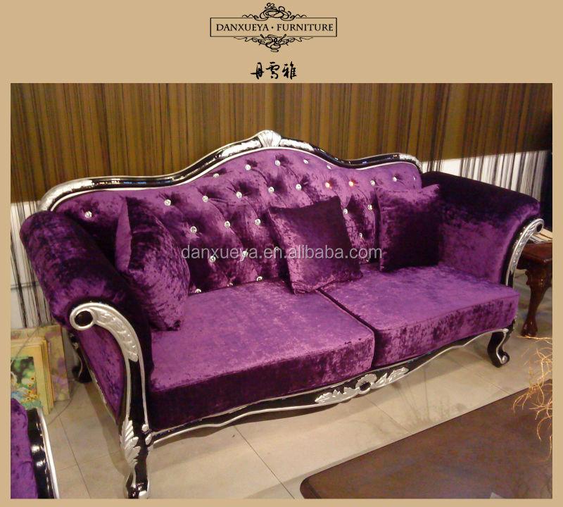 Antique Furniture Sofa Large Seat Black With Purple Fabric
