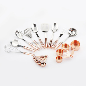 Copper Kitchen Utensils of Rose Gold Copper Stainless Steel & Measuring Cup& Spoon Kitchen Cooking Tools Set