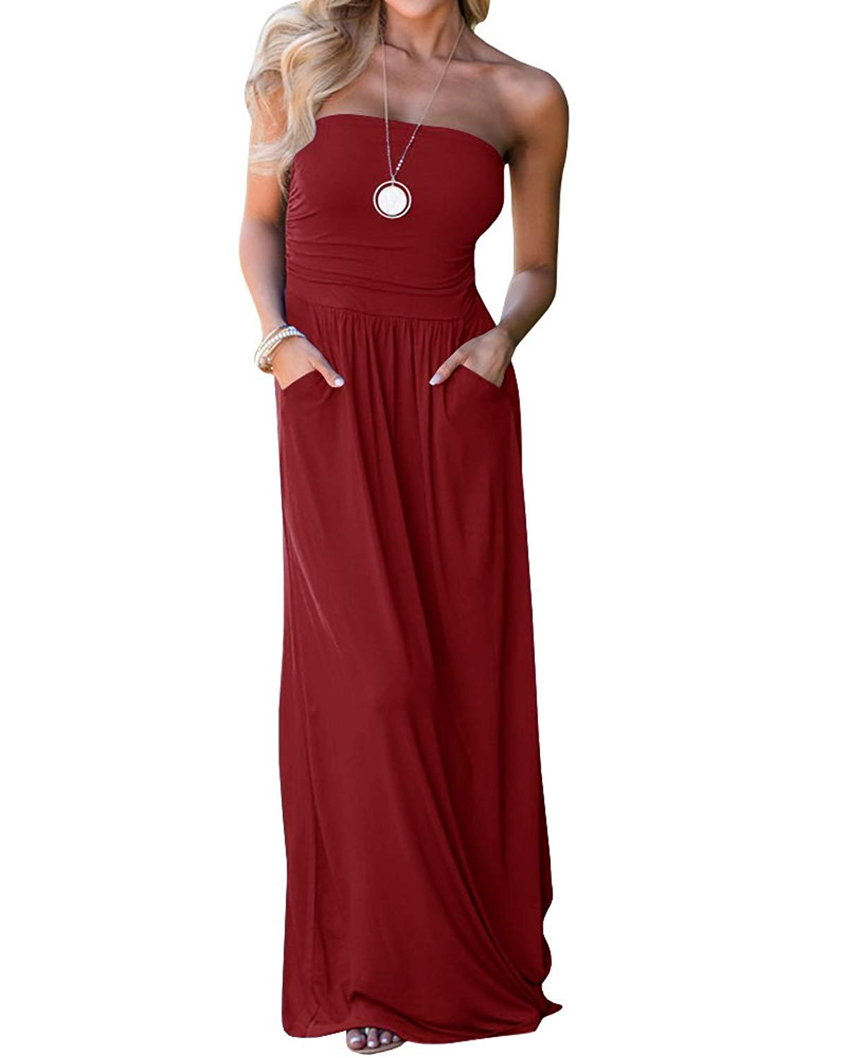 5ee7e751cab Get Quotations · Yobecho Solid Colors Sundress Cover up Tube Top Sleeveless  Casual Dress Long Maxi Dress with Pockets