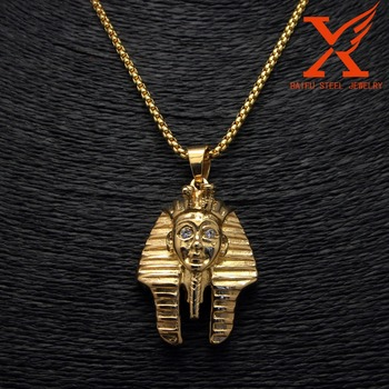 Mens hip hop pendant stainless steel 316l gold plating pharaoh king mens hip hop pendant stainless steel 316l gold plating pharaoh king tut pendant big middle and aloadofball Gallery
