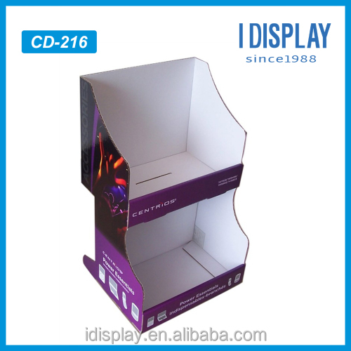 Wholesale and retail factory sell desktop pdq 2 tiers double tray counter cardboard display
