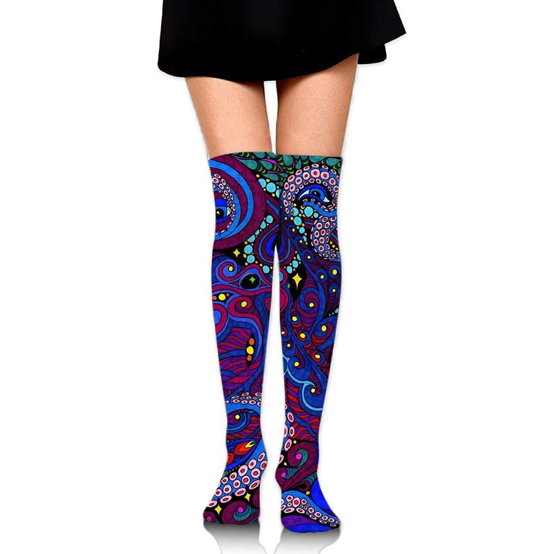 Zaqxsw Octopus Women Retro Thigh High Socks Cotton Socks For Ladies