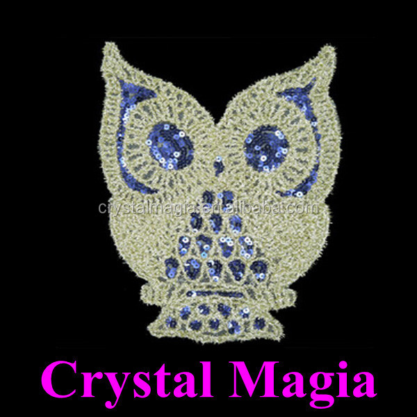 owl embroidery sequin heat transfer, custom sequin patch for Tshirt
