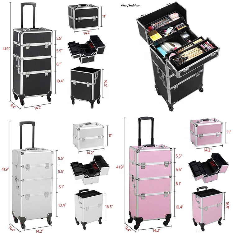 Roll make-up make-up nail fall, professionelle aluminium make-up roll schmuck trolley kosmetische zug vitrine mit schubladen