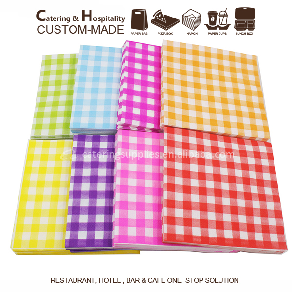 Printed wavelike pattern white dot grid fashion design table colorful Napkin paper 2ply virgin wood pulp