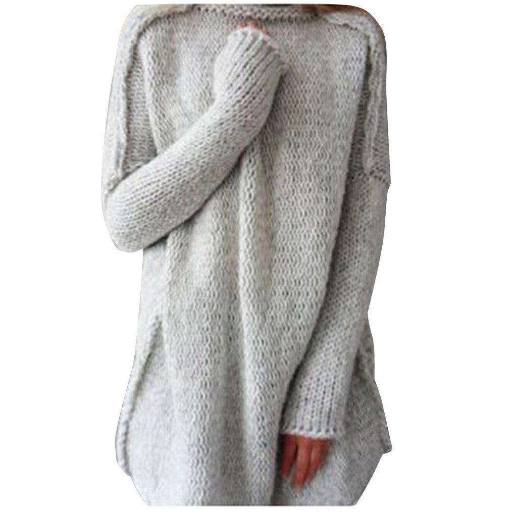 Women Blouse,Haoricu Fall Winter Women Loose Oversize Knit Sweater Jumper Shirt Tops Blouse Casual (M, Grey)