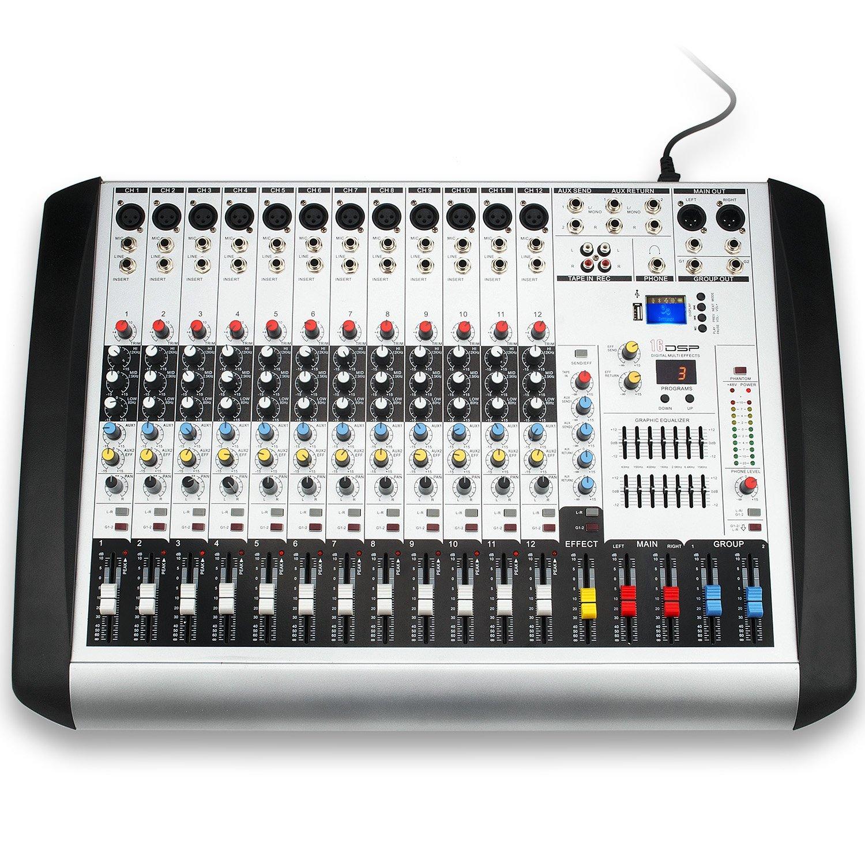 Professional MX-12 USB Portable Mixing Console 12 Channels 16 DSP DJ Audio Sound Mixer