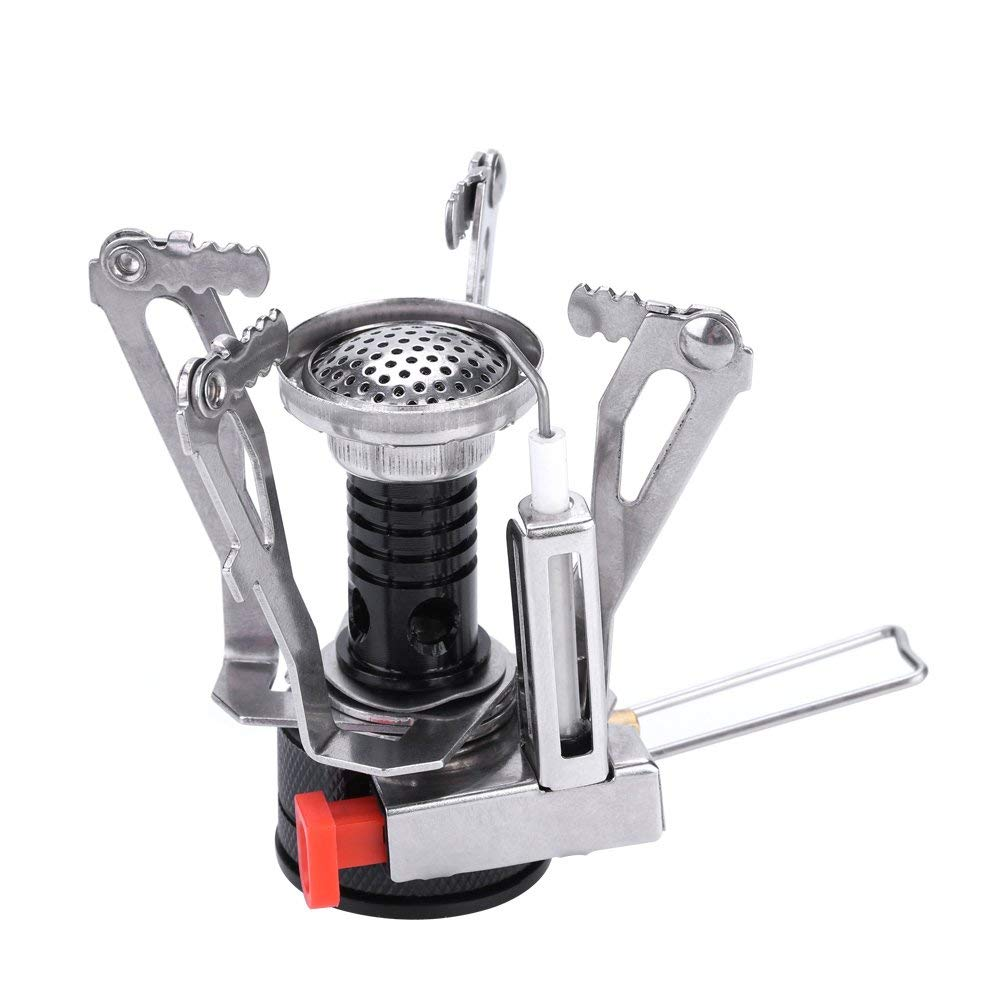 Dilwe Camping Gas Stove, Quality Aluminum Alloy Mini Windproof Collapsible Backpacking Camping Stoves with Electronic Ignition