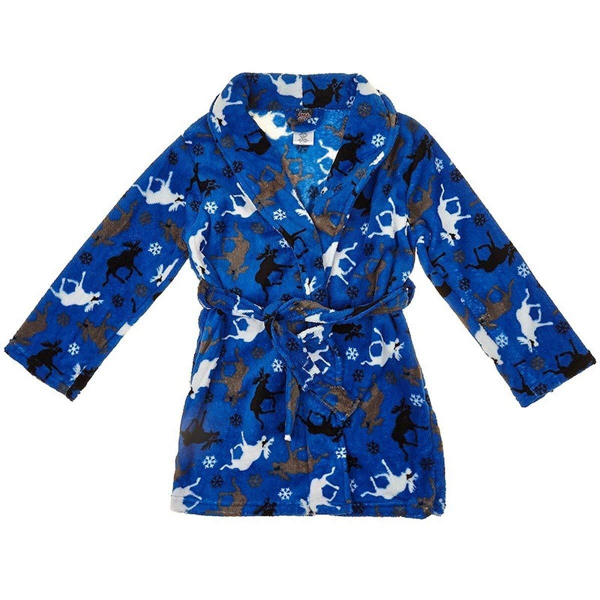 Boy's Plush Royal Blue Moose and Snowflake Fleece Bathrobe, Robe