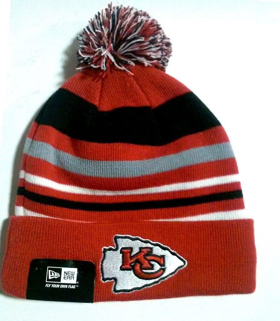 e15a4a3d3b1 Get Quotations · New Era Kansas City Chiefs Stripe Out Knit Cuff Beanie  with Pom