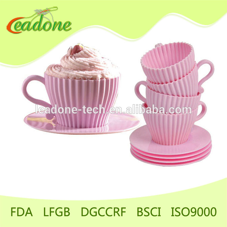 4pcs Silicone Cupcake Mold Cake Muffin Baking Mould Maker Chocolate Tea Cup Case