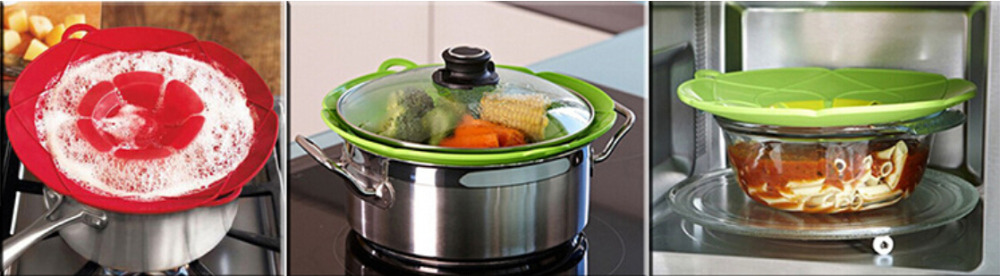 SHOWAPOO Boil Over Safeguard Silicone Lid Spill Stopper Cover
