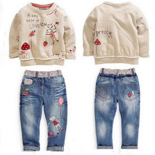2015 Free Shipping new autumn fashion children sets cartoon clothes sweater + jeans baby girls suit children clothing retail
