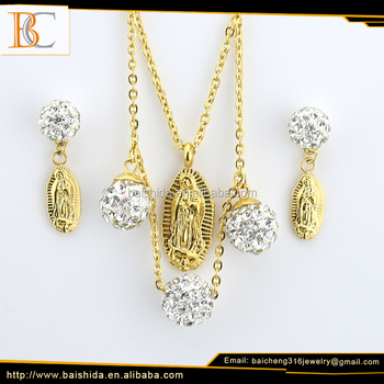 Wholesale Jewelry Supplies China Stainless Steel Simple Gold Pendant Design Virgin Mary Gold Plated Jewelry Set