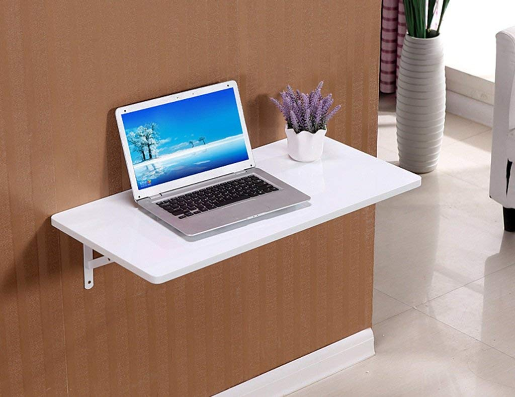 Mmdp Paint Foldable Computer Desk Dining Table Wall-mounted Laptop Desk Wall Hanging Table Learning Table Color Size Optional (Color : White, Size : 5030cm)