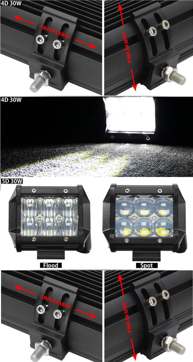 new products 4 Inch 30W LED Work Light Bar 4D 5D Spot Flood Beam For Tractor Boat OffRoad 4WD 4x4 Truck SUV ATV Headlight 12V