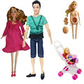 2016 New Educational Real Pregnant Doll Mom Dad Kelly Baby Carriage Girls Toys Best Gift happy