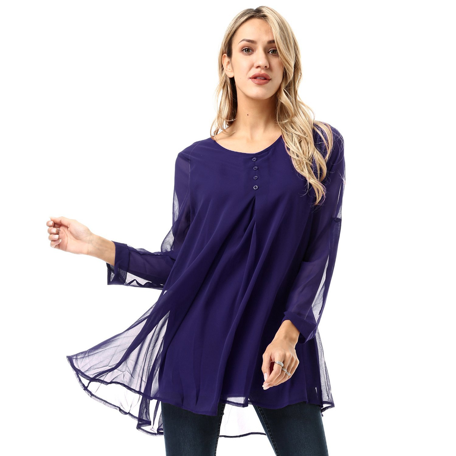 dd8511a6e11c5 Get Quotations · FISOUL Women s Blouse Roll-up Long Sleeve Round Neck  Layered Chiffon Flowy Blouse Top with