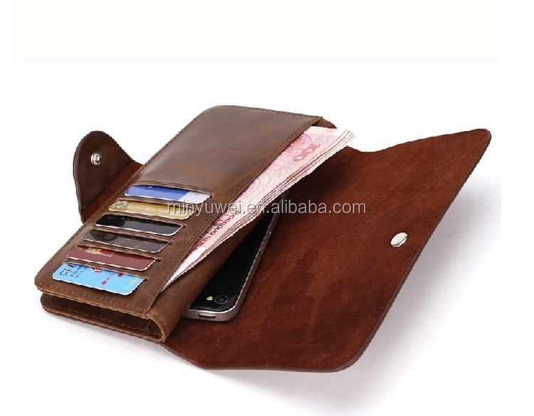 long crazy horse leather designer men's wallet with mobile holders