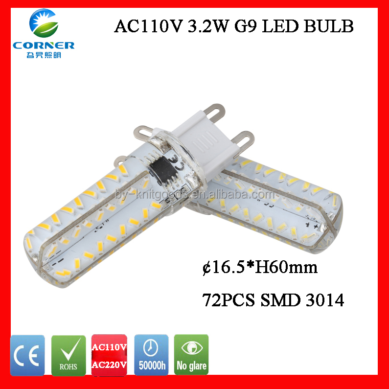 high lumen dimmable g9 <strong>led</strong> 3.2w SMD3014 silicone g9 <strong>Led</strong> bulb light AC110v