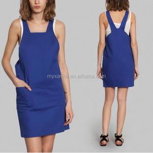 New arrival hotsale china wholesale work dress with stud adjustable strap square cut neck work uniform blue wear rough workwear