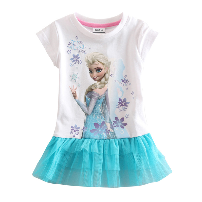 Girl Elsa T Shirt Children Short Sleeve 100 Cotton Clothes For Girls