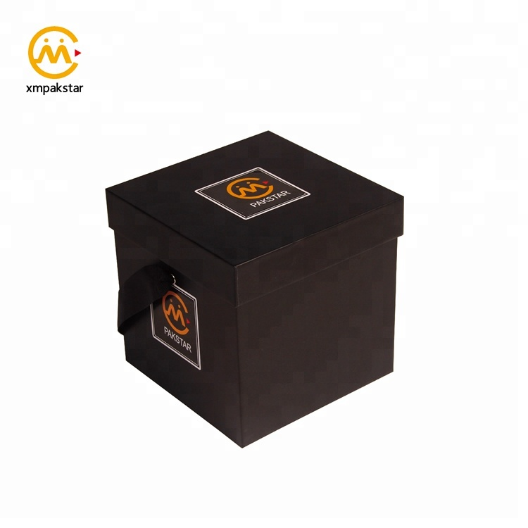 Custom logo print black cardboard square hat paper flower gift packaging box