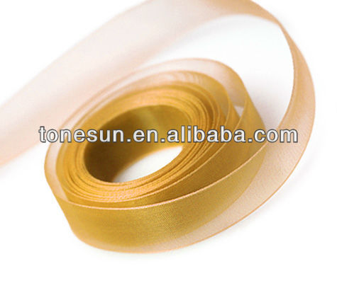 China Old Gold Yellow Silk Organza Ribbon for Indonesia Five Base Date of Birth