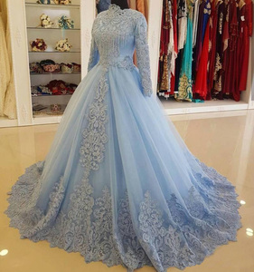 Saudi Arabian O Neck Lace Beaded Crystal Long Sleeve Ball Gown Muslim Blue Wedding Dress For Bride