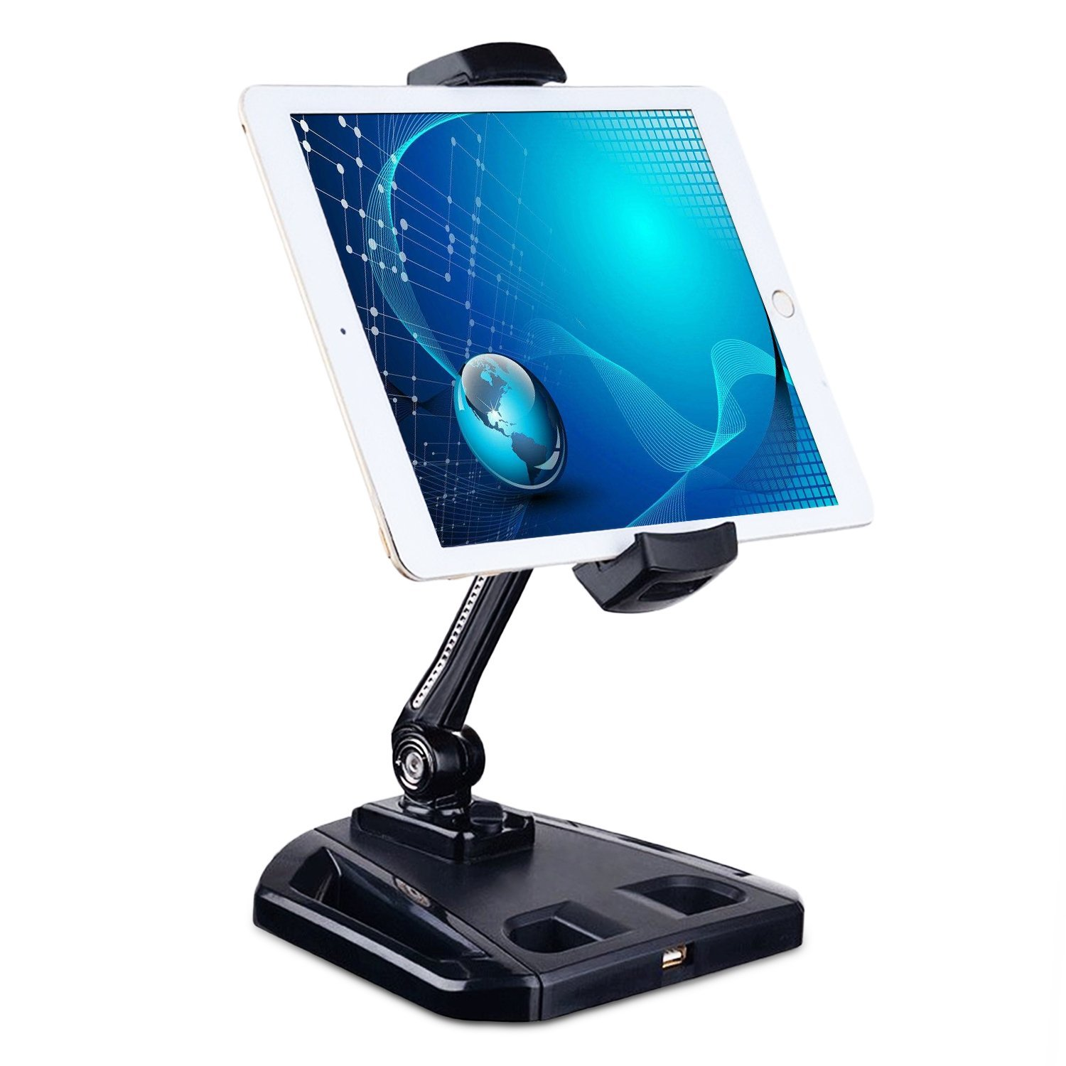 YaFex Tablet Mount Stand - 360 Degree Rotation Adjustable Aluminum Tablet Holder 4 to 11 Inches for iPad, iPhone, Kindle and Samsung with Non-slip Silicone Pad and USB Port(Black)