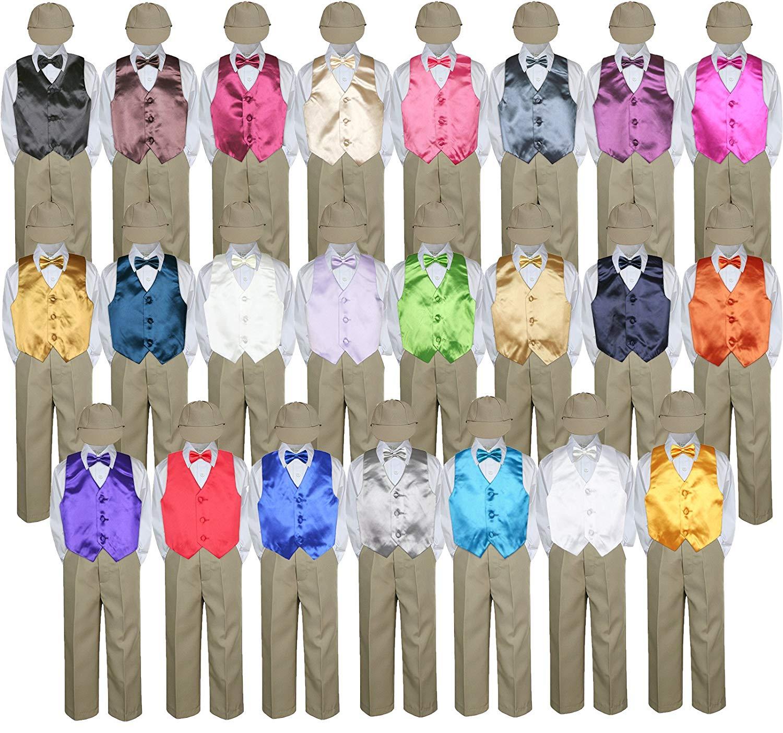 c4619061d Get Quotations · 5pc Baby Toddler Kid Boy Formal Suit KHAKI Pants Shirt  Vest Bow tie Hat Set 5
