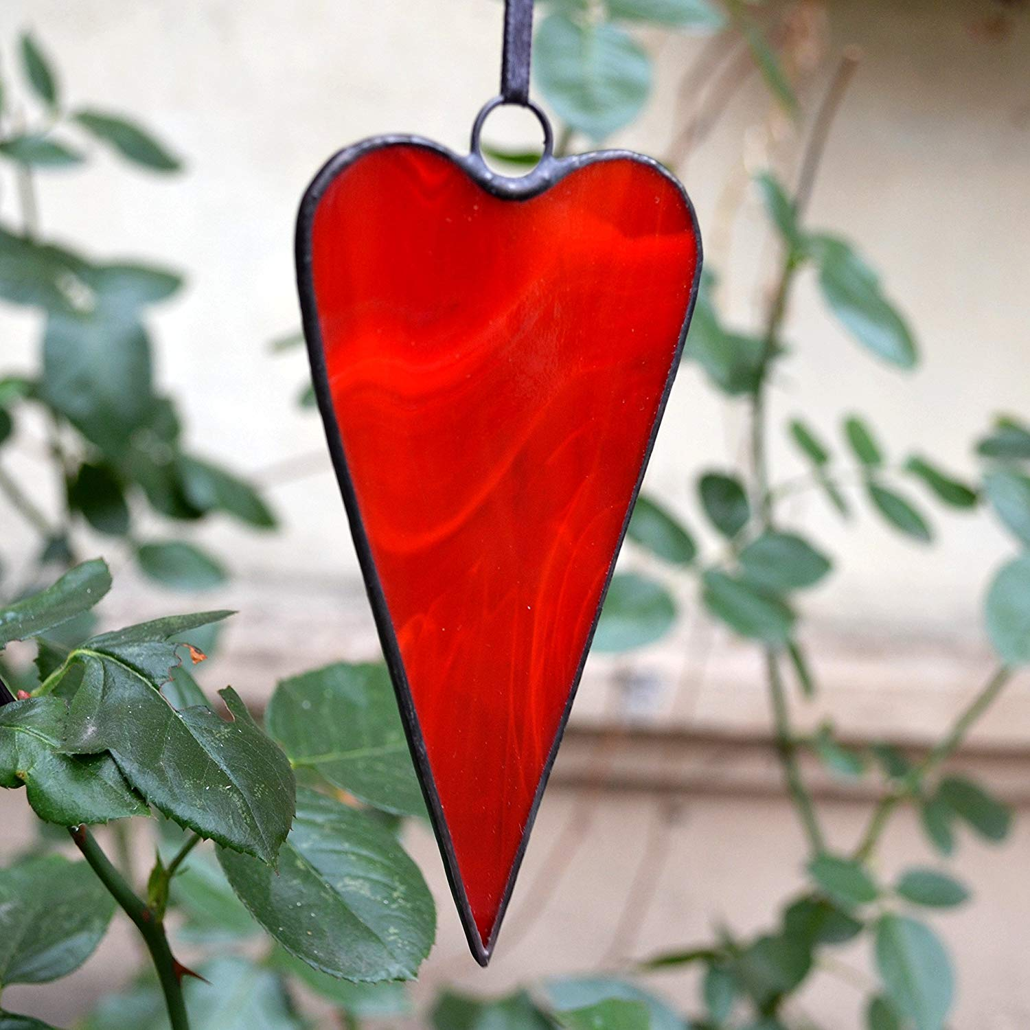 Uncommon tilda red heart ornament made of stained glass