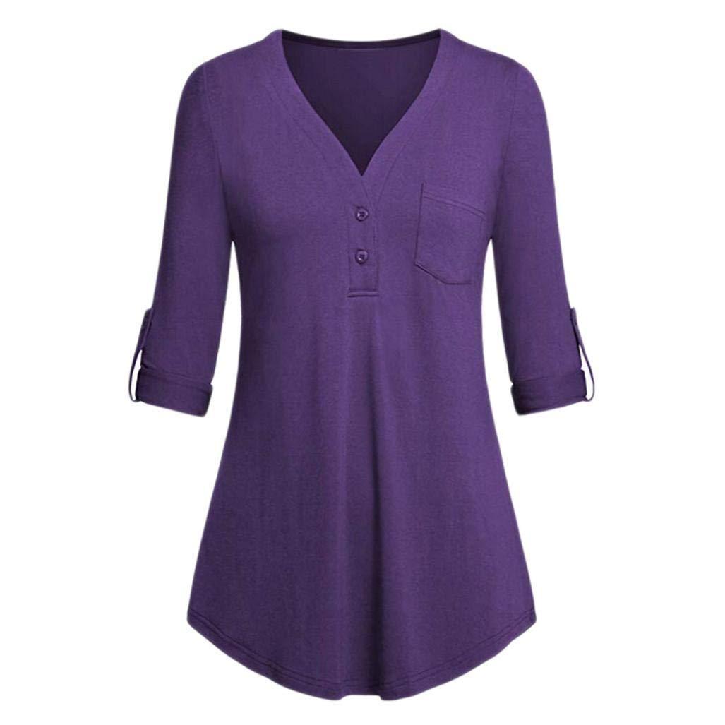 Women Button Down Blouse,Kshion Women Split V-Neck 3/4 Roll-up Sleeve Button Down Casual Blouses Shirts (Purple, XXL)