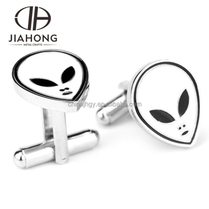 decorative fashionable custom facial expression printed metal cufflink parts