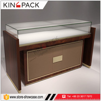 New design wood brand watch retail store glass showcase for wrist watch display counter standing case for sale