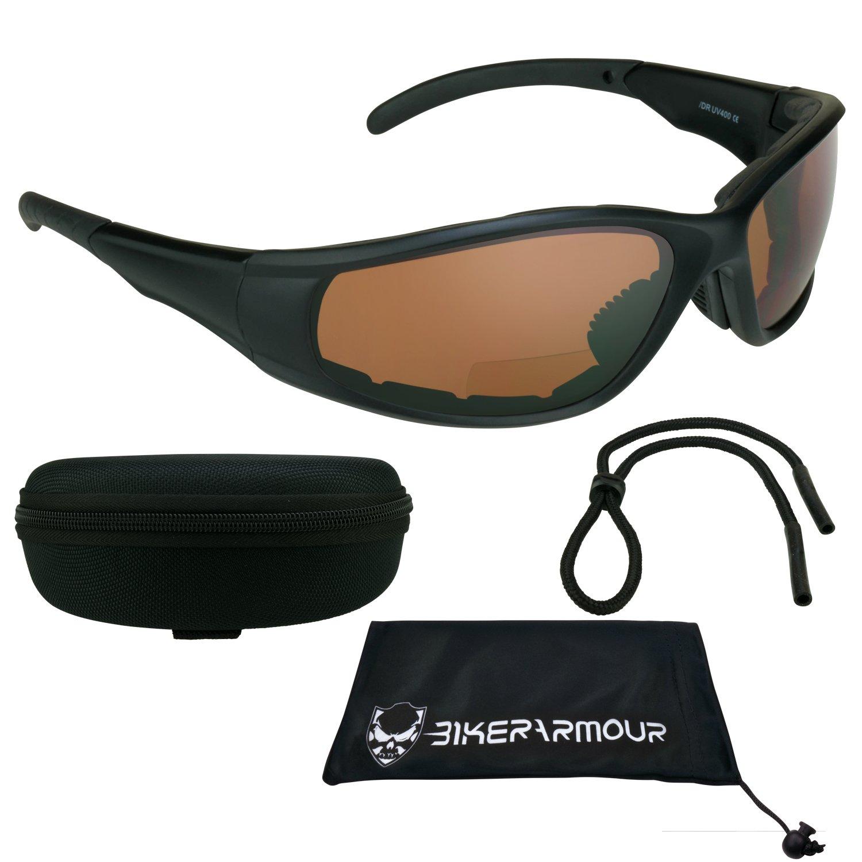 f11aabc790 Motorcycle Bifocal Safety Sunglasses Padded 3.00 for Men   Women. ANSI  Z87.1 Blue Blocker HD Polycarbonate Lens. Free Microfiber Case.