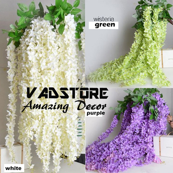 Artificial silk wisteria home garden hanging flowers plants 64 artificial silk wisteria home garden hanging flowers plants 64quot white wisteria wedding vine decor wedding mightylinksfo Choice Image