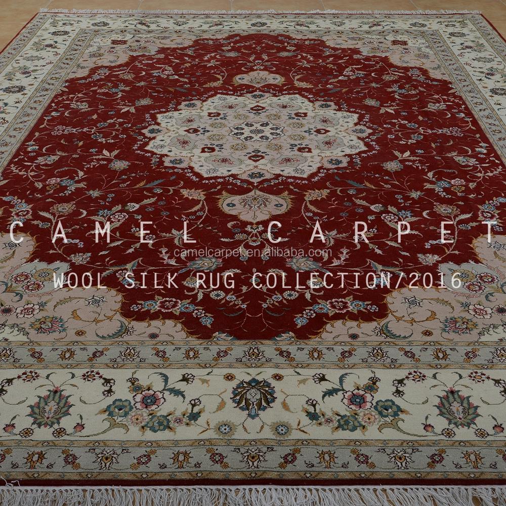 beige et rouge laine soie tapis grande taille 9x12 nous la main cachemire - Tapis Grande Taille
