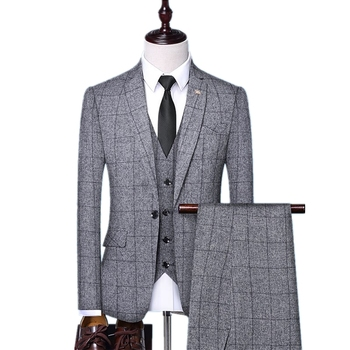 Grey Plaid Polyester Slim Fit Customized Latest Design Coat Pant Men Suits