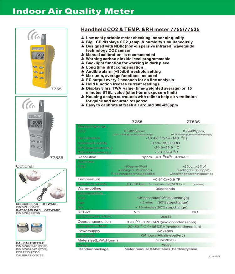 AZ-77535 AZ77535 temperature humidity Handheld dew point sensor CO2 detector carbon dioxide detector