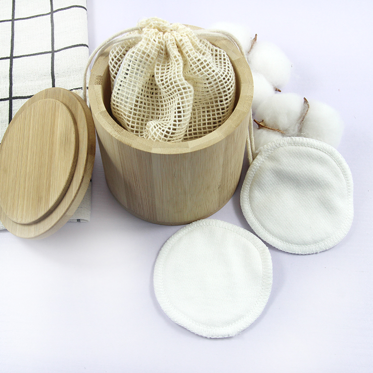 3 layer bamboe Wasbare pad make-up remover katoen reiniging pads in Bamboe buis
