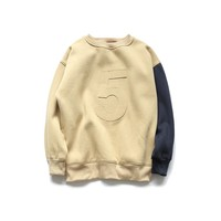 Contrast color round neck hoodies girls sweater design with embroidery