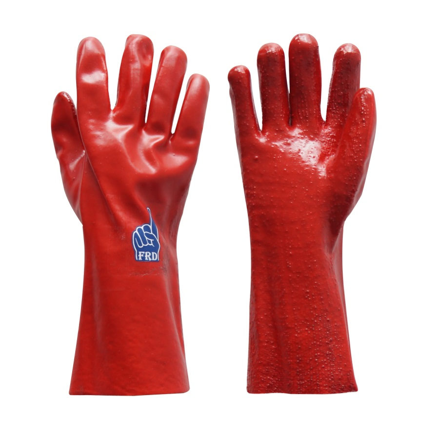 PVC Anti-Slip Oil Resistant Working Gloves ,long sleeve red smooth pvc work gloves