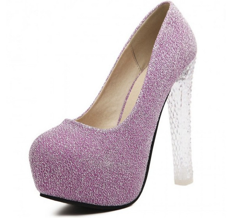 f4a4d9df313 Get Quotations · Women High Quality Sequined Cloth Transparent Thick Heels  Comfortable Round Toe Platform Club Catwalk High Heels